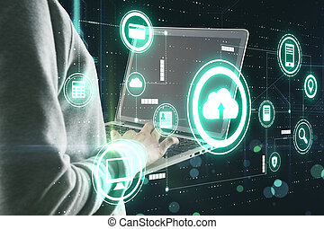 Data storage protection with human hacking computer system by laptop and virtual cloud service icons