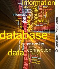 Database word cloud glowing