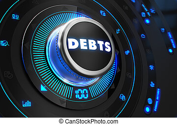 Debts Button with Glowing Blue Lights.