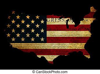 Declaration of Independence grunge America map flag