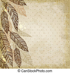 Decorative vector ethnic background with feathers