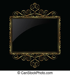 Decorative background in metallic gold and black