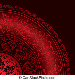Decorative red frame with vintage round patterns. Vector background