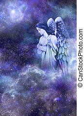Deep space blue background with Guardian Angel amongst clouds looking down with thoughtful expression