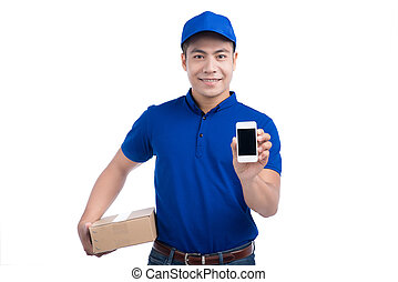 Delivery Person. Asian postman with parcel box showing mobile phone on white background.
