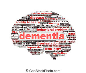 Dementia message design isolated on white
