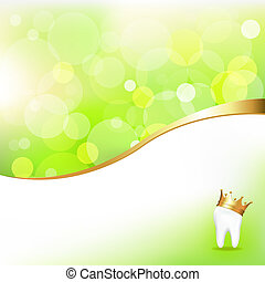 Dental Background With Tooth In Golden Crown And Beams, Vector Illustration