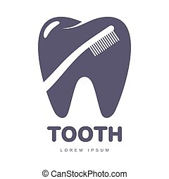 Dental care logo template with toothbrush silhouette over tooth shape