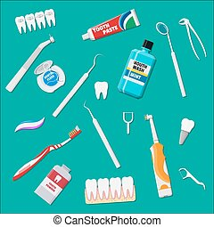 Dental cleaning tools. Oral care hygiene products