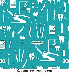 Dental equipment. Dental chair, examination form, instruments for examination, treatment, prosthetics, tooth extraction, implants, braces. Background with icons of the dental clinic.