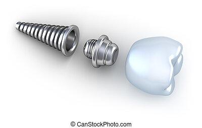 Dental implant lying on surface