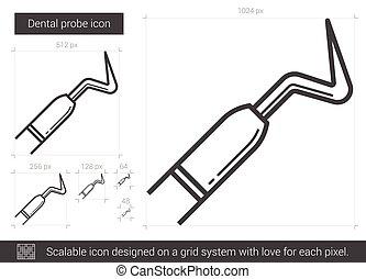 Dental probe line icon.