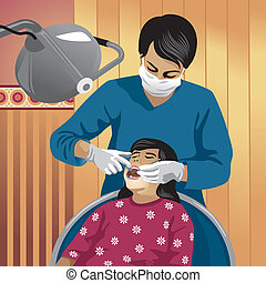 Vector illustration of a dentist with his patient. More people in my portfolio.