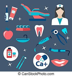 Dentistry and hygiene flat icons
