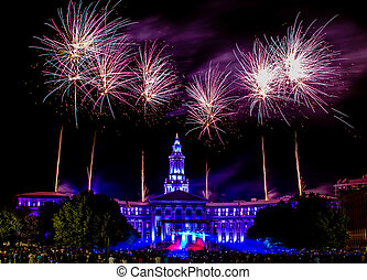 Independence Eve 4th of July Celebration Fireworks in Civic Center Park in downtown Denver Colorado USA