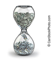 Deposit or investment. Growth of the dollar. Hourglass 3d