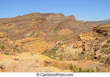Desert Mountains distant truck