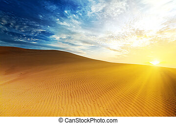 Sandy desert at sunrise time. Vietnam. Mui ne