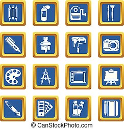 Design and drawing tools icons set blue square vector