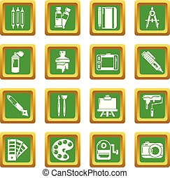 Design and drawing tools icons set green square vector