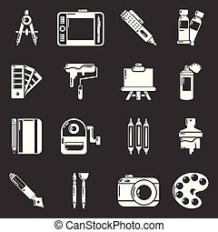 Design and drawing tools icons set grey vector