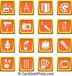 Design and drawing tools icons set orange square vector