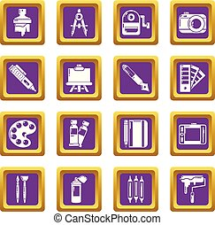 Design and drawing tools icons set purple square vector