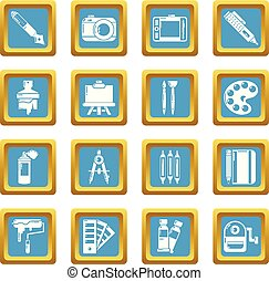Design and drawing tools icons set sapphirine square vector