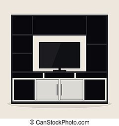 Design of entertainment room furniture with a TV