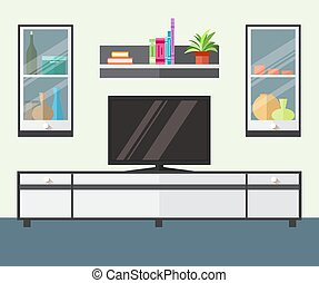 Interior living room with furniture, tv and shelf.