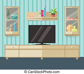 Design TV zone in a flat style. Interior living room with furniture, tv and shelf. Vector illustration.
