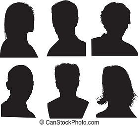 set of silhouettes of heads, highly detailed in black