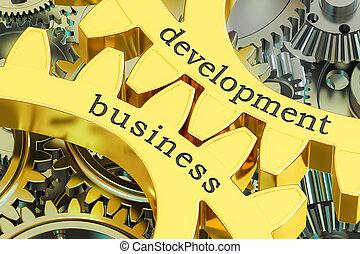 Development Business concept on the gearwheels, 3D rendering