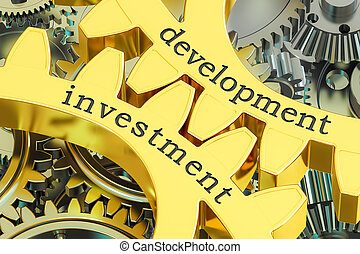 Development Investment concept on the gearwheels, 3D rendering