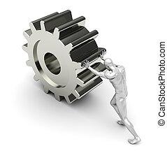 Strong man pushes a metal gear ? development progress
