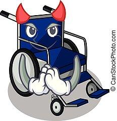 Devil cartoon wheelchair in a hospital room
