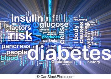 Diabetes wordcloud glowing