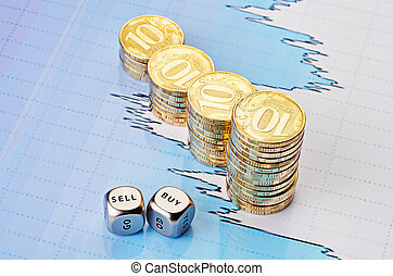 Dices cubes with the words SELL BUY, uptrend stacks of golden coins and fiinancial chart as background. Selective focus.