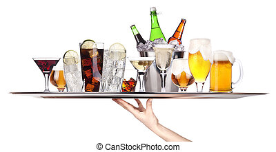 different alcohol drinks on a tray -beer, cocktail, champagne, wine, whiskey, cola