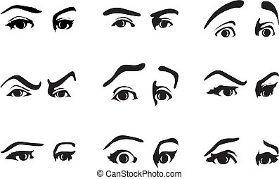 Different expression of an eye expressing emotions. A vector illustration