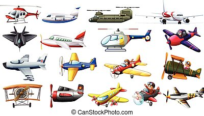 Different kind of aircrafts