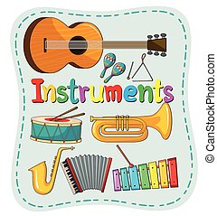 Different kind of musical instrument