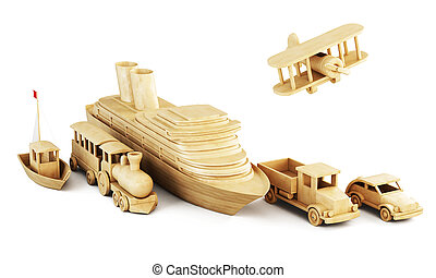 Different modes of transport. Set of wooden forms of transport.
