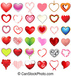 illustration of different style of hearts on isolated background