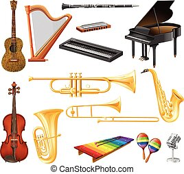 Different types of musical instruments