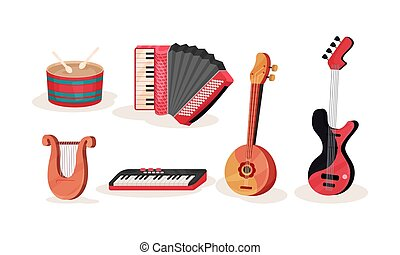 Different Types Of Musical Instruments Vector Illustration Set Isolated On White Background