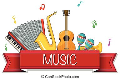 Different types of musical instruments with banner