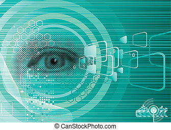 Digital eye for Security design, vector Layers.