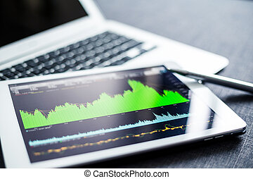 Digital tablet with stock market graph