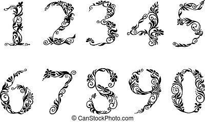 Digits and numbers with floral details in retro style
